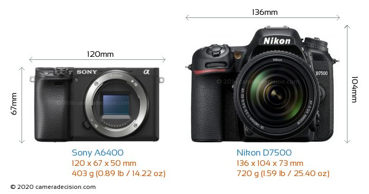 Sony A6400 vs Nikon D7500 Camera Size Comparison - Front View