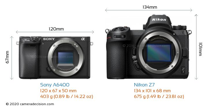 Sony A6400 vs Nikon Z7 Camera Size Comparison - Front View