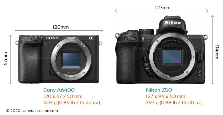 Sony A6400 vs Nikon Z50 Camera Size Comparison - Front View