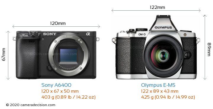 Sony A6400 vs Olympus E-M5 Camera Size Comparison - Front View