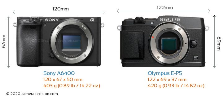 Sony A6400 vs Olympus E-P5 Camera Size Comparison - Front View