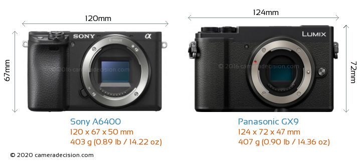 Sony A6400 vs Panasonic GX9 Camera Size Comparison - Front View