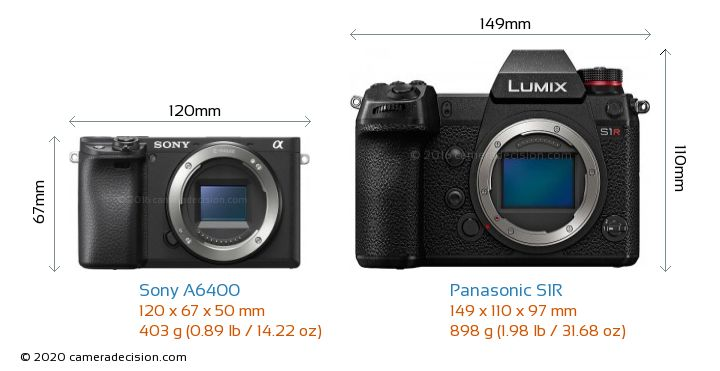 Sony A6400 vs Panasonic S1R Camera Size Comparison - Front View