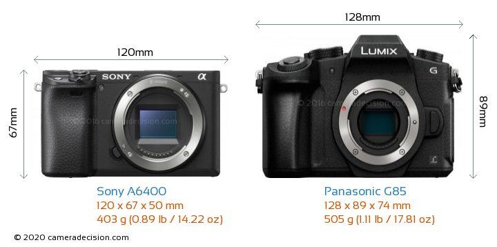 Sony A6400 vs Panasonic G85 Camera Size Comparison - Front View