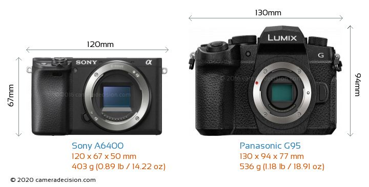 Sony A6400 vs Panasonic G95 Camera Size Comparison - Front View