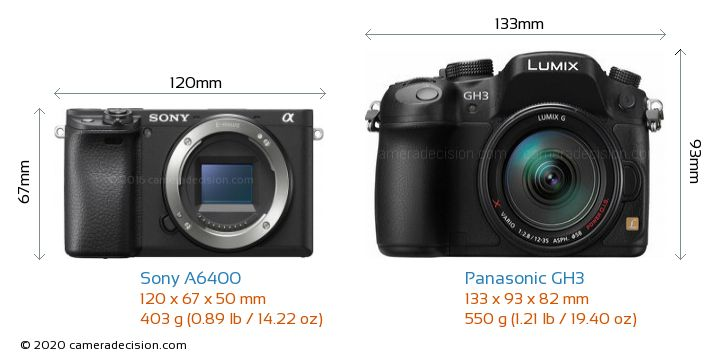 Sony A6400 vs Panasonic GH3 Camera Size Comparison - Front View