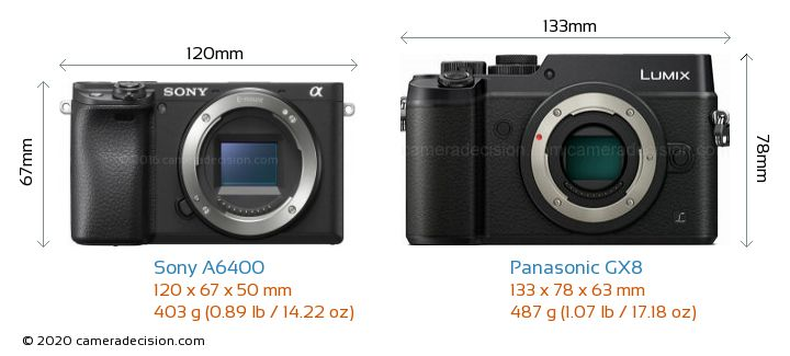 Sony A6400 vs Panasonic GX8 Camera Size Comparison - Front View