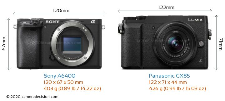Sony A6400 vs Panasonic GX85 Camera Size Comparison - Front View