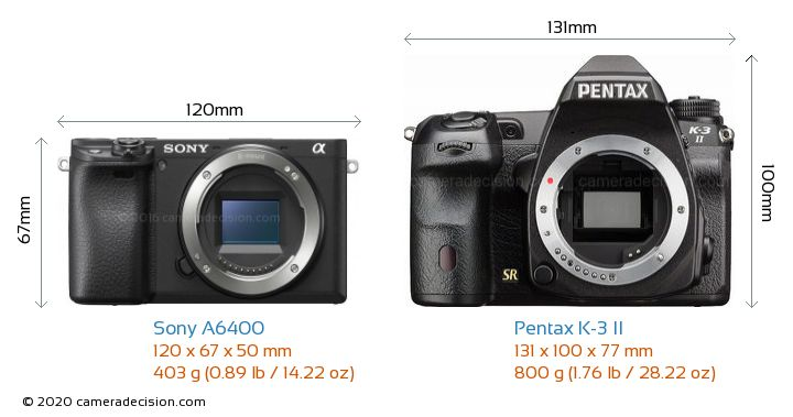 Sony A6400 vs Pentax K-3 II Camera Size Comparison - Front View