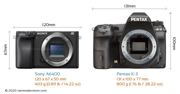 Sony A6400 vs Pentax K-3 Camera Size Comparison - Front View