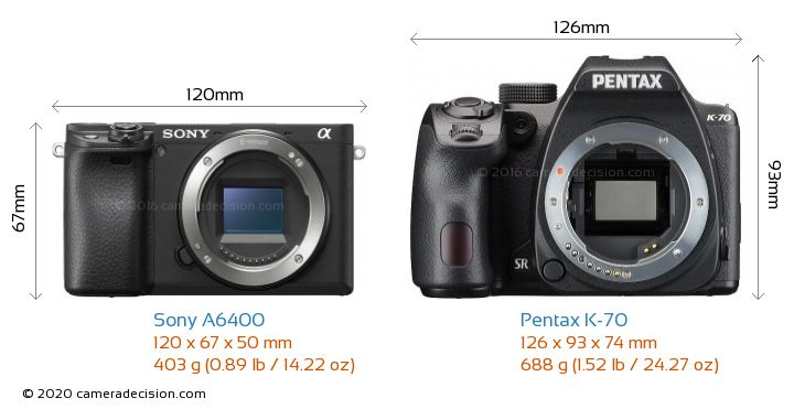 Sony A6400 vs Pentax K-70 Camera Size Comparison - Front View