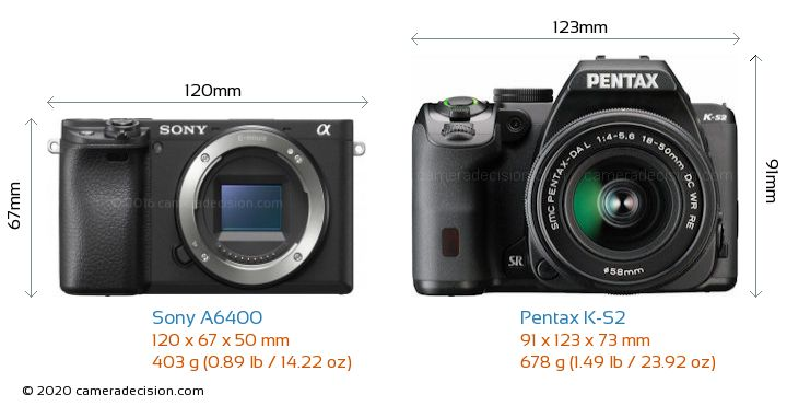 Sony A6400 vs Pentax K-S2 Camera Size Comparison - Front View