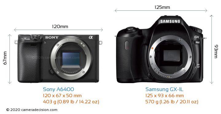 Sony A6400 vs Samsung GX-1L Camera Size Comparison - Front View