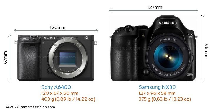 Sony A6400 vs Samsung NX30 Camera Size Comparison - Front View