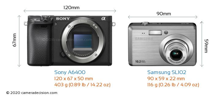 Sony A6400 vs Samsung SL102 Camera Size Comparison - Front View