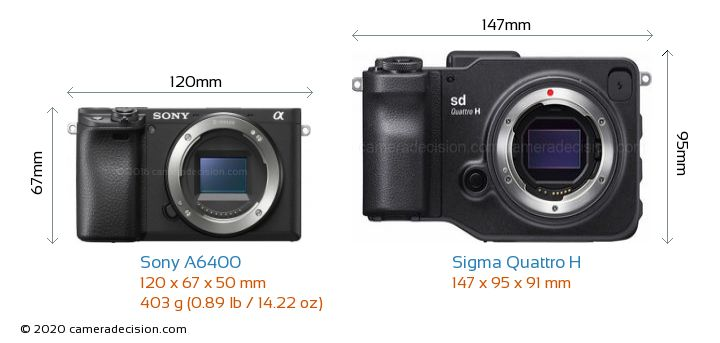 Sony A6400 vs Sigma Quattro H Camera Size Comparison - Front View