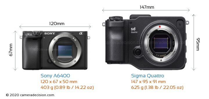 Sony A6400 vs Sigma Quattro Camera Size Comparison - Front View