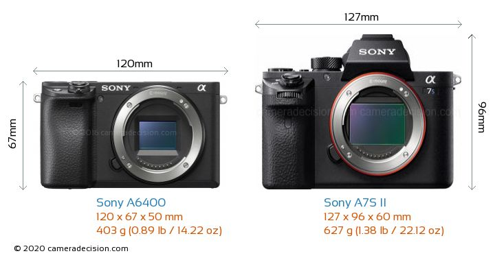 Sony A6400 vs Sony A7S II Camera Size Comparison - Front View