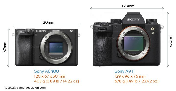 Sony A6400 vs Sony A9 II Camera Size Comparison - Front View