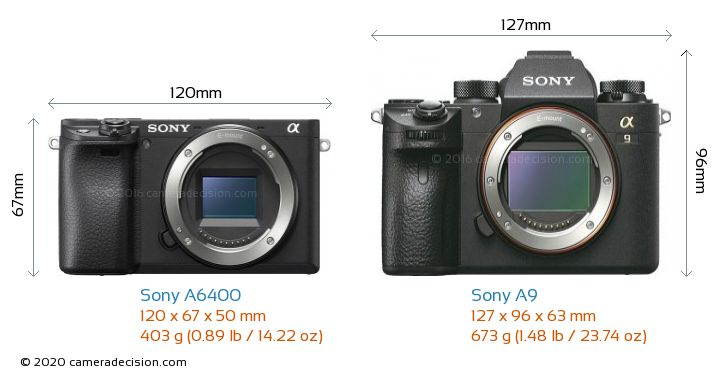 Sony A6400 vs Sony A9 Camera Size Comparison - Front View
