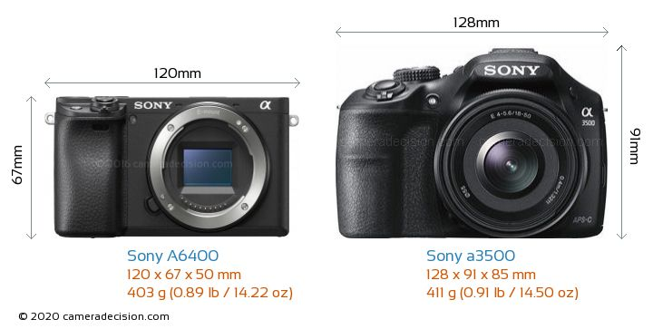 Sony A6400 vs Sony a3500 Camera Size Comparison - Front View