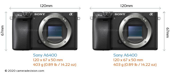 Sony A6400 vs Sony A6400 Camera Size Comparison - Front View