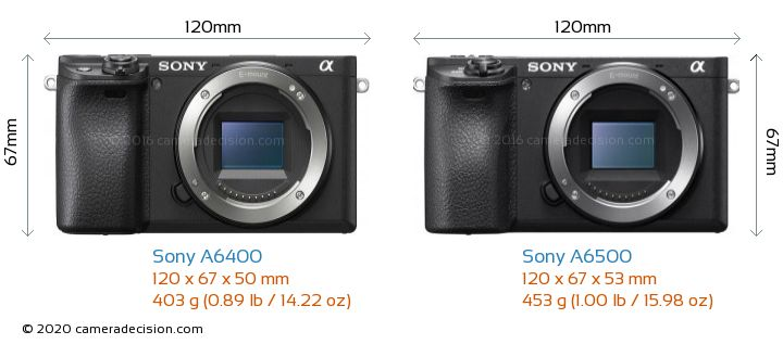 Sony A6400 vs Sony A6500 Camera Size Comparison - Front View
