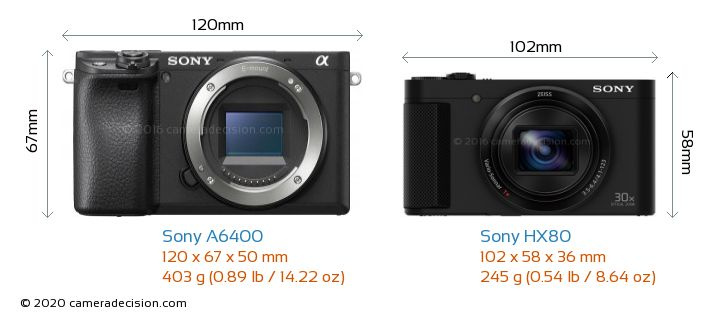 Sony A6400 vs Sony HX80 Camera Size Comparison - Front View