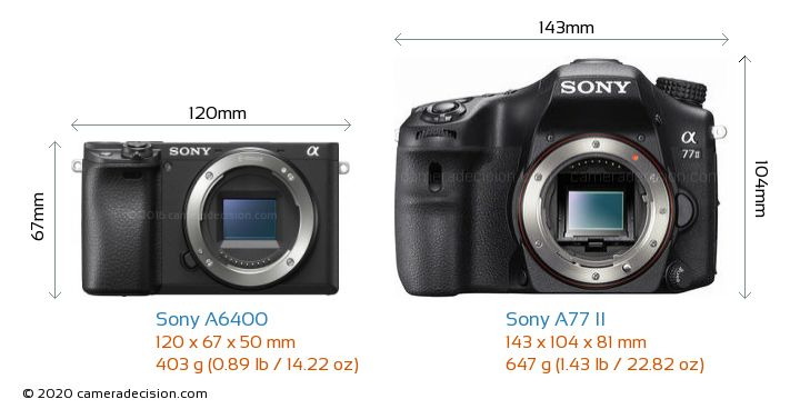 Sony A6400 vs Sony A77 II Camera Size Comparison - Front View
