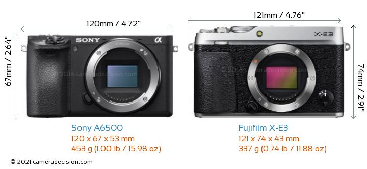 Sony A6500 vs Fujifilm X-E3 Camera Size Comparison - Front View