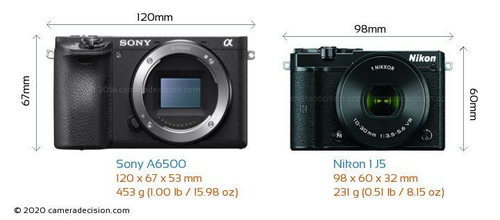 Sony A6500 vs Nikon 1 J5 Camera Size Comparison - Front View