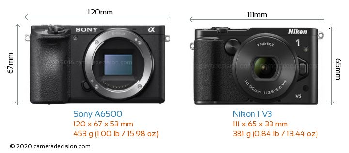 Sony A6500 vs Nikon 1 V3 Camera Size Comparison - Front View