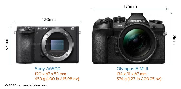 Sony A6500 vs Olympus E-M1 II Camera Size Comparison - Front View