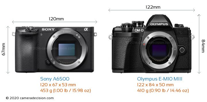 Sony A6500 vs Olympus E-M10 MIII Camera Size Comparison - Front View