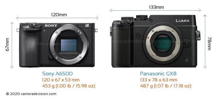 Sony A6500 vs Panasonic GX8 Camera Size Comparison - Front View