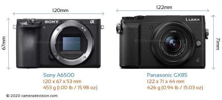 Sony A6500 vs Panasonic GX85 Camera Size Comparison - Front View