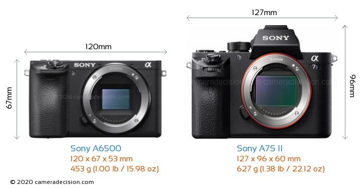 Sony A6500 vs Sony A7S II Camera Size Comparison - Front View