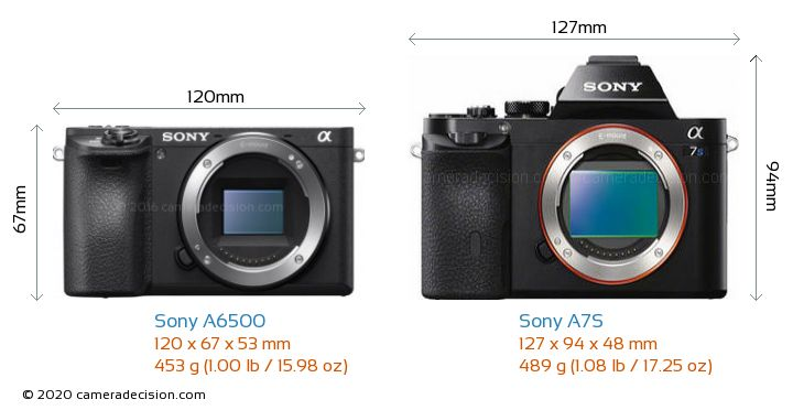 Sony A6500 vs Sony A7S Camera Size Comparison - Front View