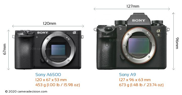 Sony A6500 vs Sony A9 Camera Size Comparison - Front View