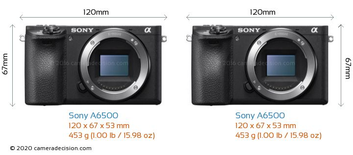 Sony A6500 vs Sony A6500 Camera Size Comparison - Front View