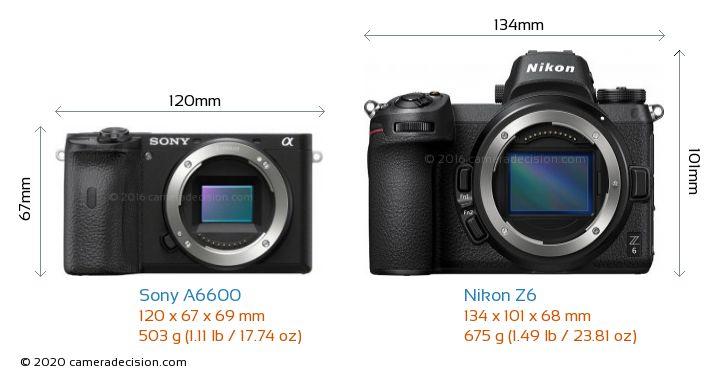Sony A6600 vs Nikon Z6 Camera Size Comparison - Front View