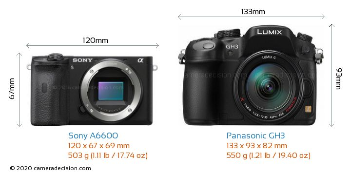 Sony A6600 vs Panasonic GH3 Camera Size Comparison - Front View