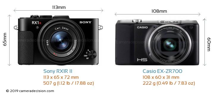 Sony RX1R II vs Casio EX-ZR700 Camera Size Comparison - Front View
