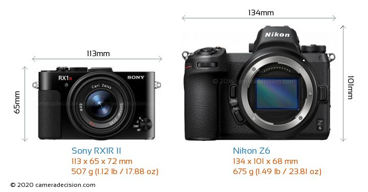 Sony RX1R II vs Nikon Z 6 Camera Size Comparison - Front View