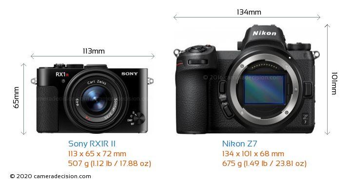 Sony RX1R II vs Nikon Z 7 Camera Size Comparison - Front View