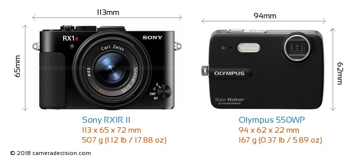 Sony RX1R II vs Olympus 550WP Camera Size Comparison - Front View