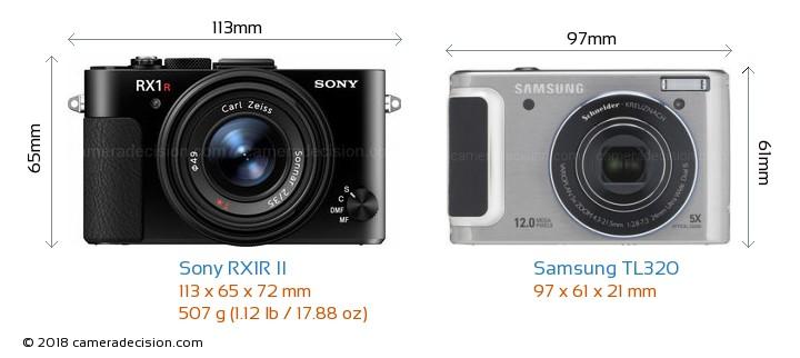 Sony RX1R II vs Samsung TL320 Camera Size Comparison - Front View