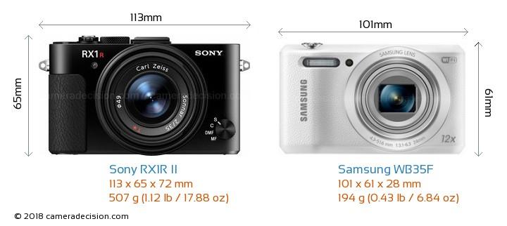 Sony RX1R II vs Samsung WB35F Camera Size Comparison - Front View