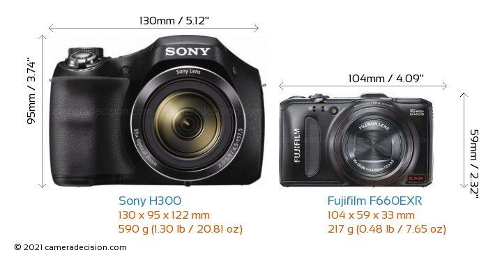 Sony H300 vs Fujifilm F660EXR Camera Size Comparison - Front View