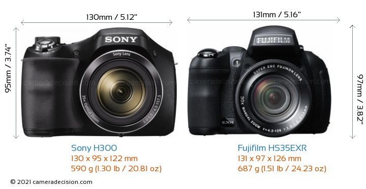 Sony H300 vs Fujifilm HS35EXR Camera Size Comparison - Front View